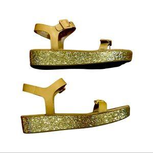 Kate Spade tan & gold glitter platform sandals